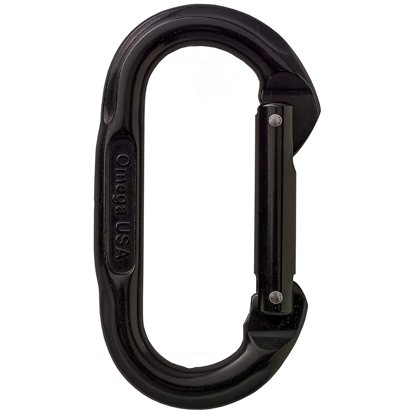 Omega Pacific Carabiner Oval, Non Locking, Black, USA Made, ISO Cold Forged Aircraft Aluminum Alloy for Climbing, Safety, Rescue, Industrial, and Arborist Uses