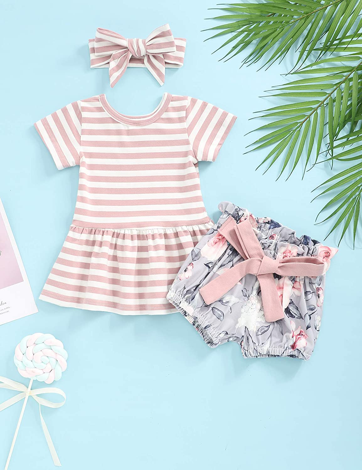 bilison Baby Girl Clothes Little Miss Sassy Pants Romper+Floral Shorts with Headband Baby Girl Summer Outfits