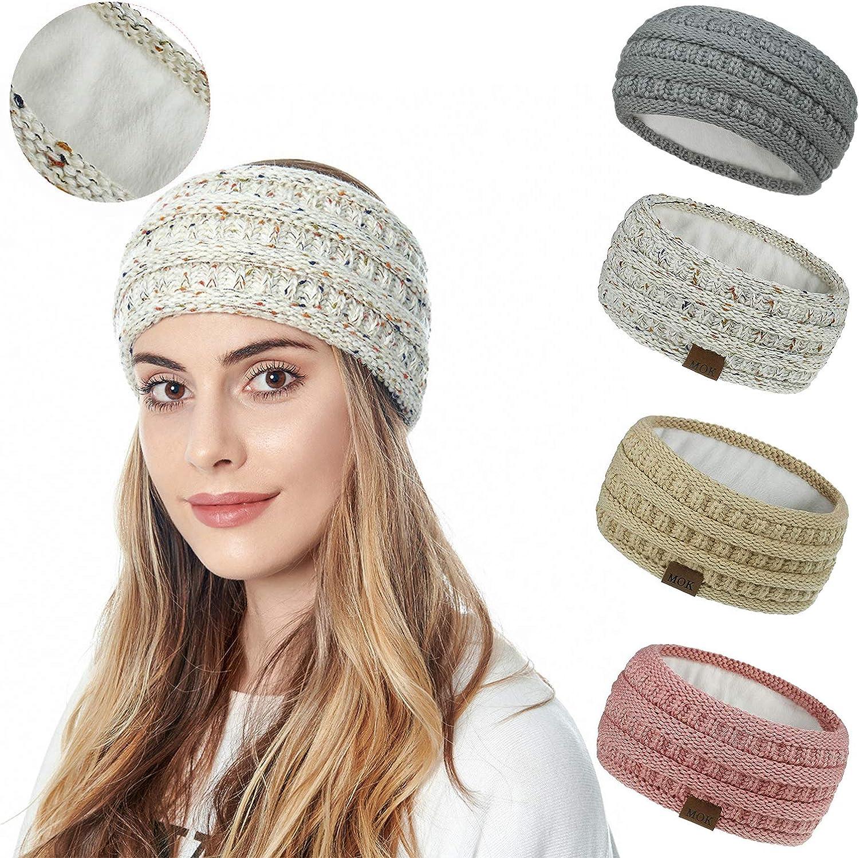 Lateefah Womens Knitted Headband Winter Warmer Headband Fuzzy Head Wrap Soft Stretchy Thick Knit Headband for Girls Gift (Beige)