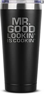 Grill Gifts for Men - BBQ Gifts for Men - Mr Good Lookin' is Cookin' - 30 oz Black Tumbler w/Lid - Barbecue Chef Gifts for...