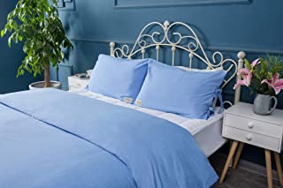 Meaning4 Blue Pillow Covers Cases Shams Slips with Bow Ties Bowknots Pure Cotton Queen Size 2 Pieces Solid