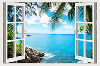 Mi Alma 3D Removable Vinyl Wall Mural Stickers White Window Frame Design – Wide Variety of Realistic Views – Easy to Apply...