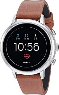 Fossil Women's Gen 4 Venture HR Heart Rate Stainless Steel and Leather Touchscreen Smartwatch, Color: Silver, Brown (Model: FTW6014)