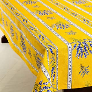 Amelie Michel Wipe-Clean French Tablecloth in Yellow Valensole Lavender   Authentic French Acrylic-Coated 100% Cotton Fabric   Easy Care, Spill Proof [60