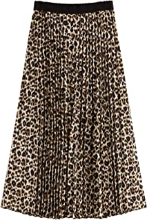 Women's Boho Elastic Waist Scarf Print Pleated Midi Skirt