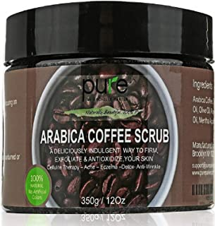 100% Arabica Coffee Scrub 12 oz. with Natural Coffee, Coconut Oil & Shea Butter - Anti Cellulite & Stretch Mark Treatment, Therapy for Spider & Varicose Veins, Acne & Eczema