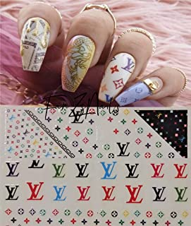 Go4Nails 2019 LV Inspired Colorful Nail Art Stickers Self Adhesive Decals DIY