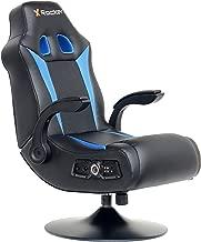 X Rocker 2.1 Wireless Bluetooth Vibe SE Audi Vibrating Foldable Video Gaming Chair with Pedestal Base & High Tech Audio - Tilt & Swivel Design w/ Lumbar Support, Head & Arm Rests - Black/Blue, 5128201
