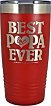 GIFT FOR PAPA - BEST PAPA EVER ~ LOVE YOU Stainless Steel Vacuum Insulated Tumbler Large Travel Coffee Mug Hot Cold GK Grand Designed & Engraved Birthday Fathers Day Christmas Dad (Red, 20 oz)
