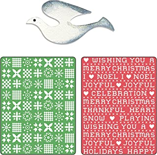 Sizzix Textured Impressions Embossing Folders with Bonus Sizzlits Die - Nordic Sweater & Cross Stitch Set by BasicGrey