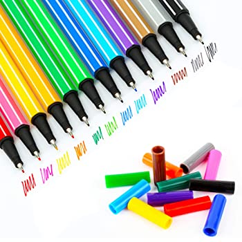 12 Colors Journal Planner Pens, Fine Point Markers, Fine-Liner Pens, for Drawing and Writing