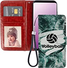 JQLOVE Samsung Galaxy S9 Wallet Phone Case, Volleyball Series PU Leather Flip Magnetic Clasp Multi Card Slot Stand Holder Cover Wallet Case for Samsung Galaxy S9