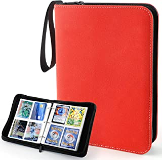 Trading Card Album Binder, Baseball Card Binder with Sleeves for 400 Cards, Waterproof Zipper Matte Leather Sports Trading...