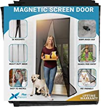 Flux Phenom Reinforced Magnetic Screen Door - Fits Doors up to 38 x 82 Inches - Bug, Fly, and Mosquito Net for Doors (Black)