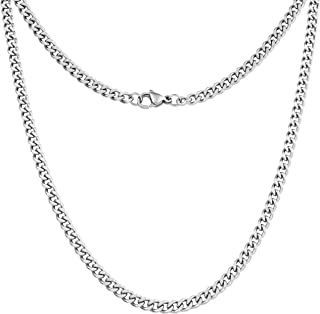 "Silvadore 4mm Curb Mens Necklace - Silver Chain Cuban Stainless Steel Jewelry - Neck Link Chains for Men Man Women Boys Male Military - 14"" 16"" 18"" 20"" 22"" 24"" 26"" 36"" inch UK"