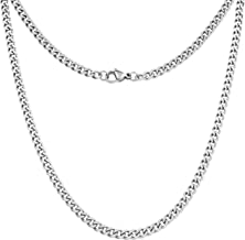 Silvadore 4mm Curb Mens Necklace - Silver Chain Cuban Stainless Steel Jewelry - Neck Link Chains for Men Man Women Boys Male Military - 14