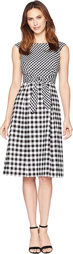 Adrianna Papell Gingham Midi Fit and Flare Dress