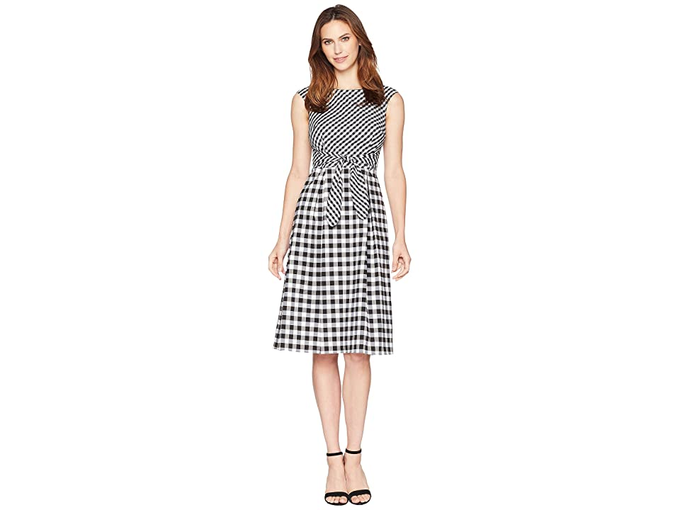 Adrianna Papell Gingham Midi Fit and Flare Dress (Ivory/Black) Women