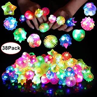 Neovoo Prizes for Kids Party Favors 38 Pack FlashingLED Light Up Rings Classroom Prizes Glow in The Dark Party Supplies Jelly Novelty Play Rings Bulk Toys Birthday Celebration Gifts
