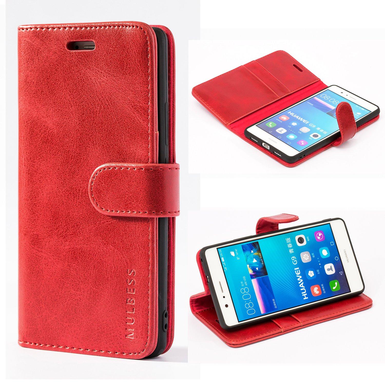 Mulbess Funda Huawei P9 Lite [Libro Caso Cubierta] [Vintage de Billetera Cuero de la PU] con Tapa Magnética Carcasa para Huawei P9 Lite Case, Vino Rojo: Amazon.es: Electrónica