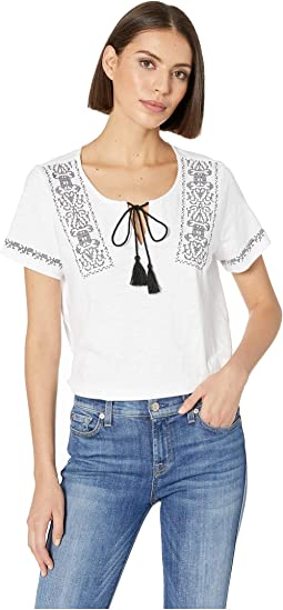 Slub Jersey Short Sleeve Top with Embroidery