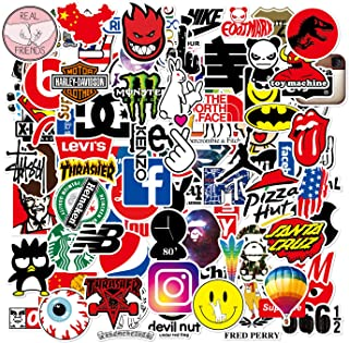 100 Pcs Fashion Brand Stickers Brand Decals for Water Bottle Hydro Flask Laptop Luggage Car Bike Bicycle Waterproof Vinyl Stickers Pack