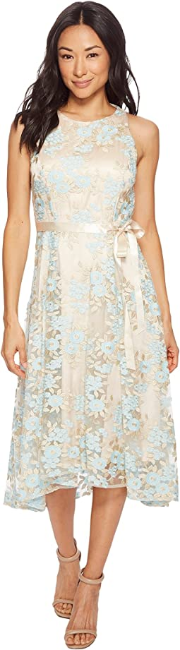 Tahari by ASL - Petite Embroidered Mesh Midi Dress
