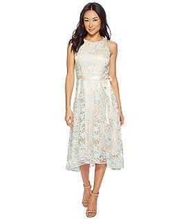 Petite Embroidered Mesh Midi Dress
