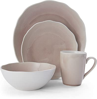 Mikasa Dahlia 16-Piece Dinnerware Set, Service for 4, Blush Pink