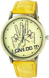 Addic I Can Do It Printed Denim Strap Analogue Yellow Dial Women's Watch