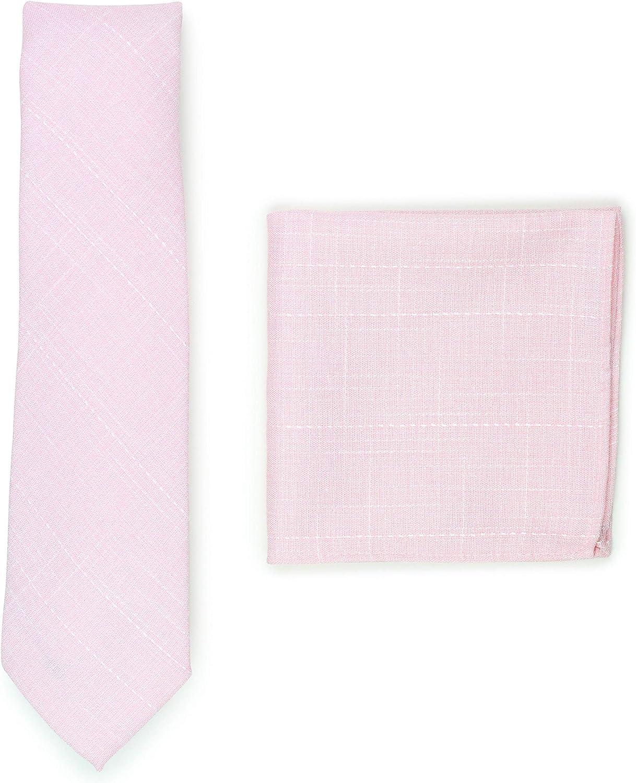 Bows-N-Ties Wedding Cotton Tie Set 2pc Necktie Hanky Set for Weddings Slim 2.75 inch width