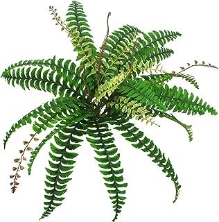 Lanldc Artificial Boston Fern Bush Faux Fern with Wicker Decorative Silk Plant, Green - 23
