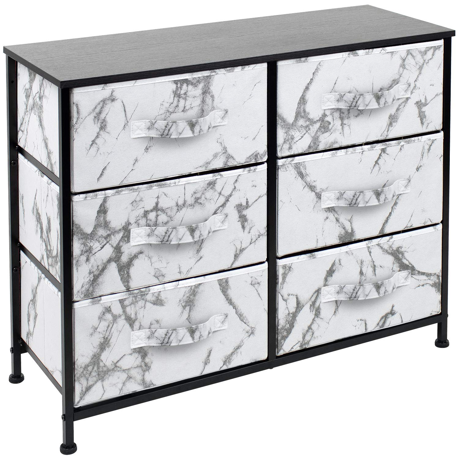 Sorbus Dresser with 6 Drawers - Furniture Storage Chest Tower Unit for Bedroom, Hallway, Closet, Office Organization - Steel Frame, Wood Top, Easy Pull Fabric Bins (Marble White – Black Frame)
