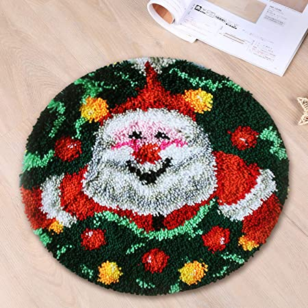 Christmas Santa Latch Hook Kits for Beginners Printed Color Canvas Crocheting Crafts Embroidery for Kids Adults Beginners 52X40cm Latch Hook Rug Kits