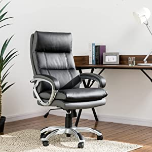 Glitzhome Modern Ergonomic High Back Office Desk Chair Adjustable Swivel PU Leather Executive Office Chair with Armrest Computer Desk Chair with Lumbar Support Task Chair, Black