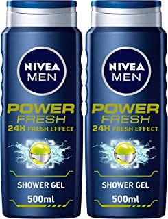 NIVEA MEN Power Fresh Shower Gel, 24h Fresh Effect, Citrus Scent, 2 x 500 ml, 80898