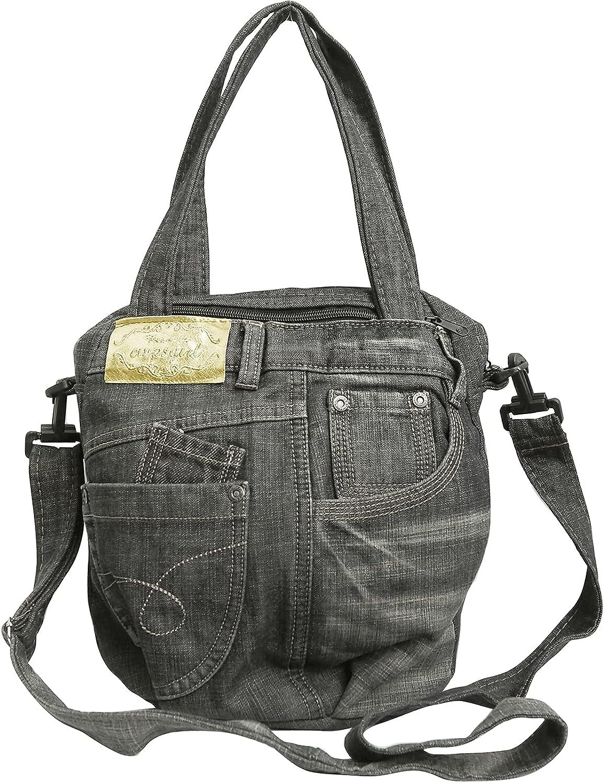 BDJ Upcycling Blue Denim Jean Round Shape Top Handle Shoulder Handbag Purse