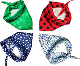 Nakpets Dog Bandana 4Pcs + Chew Toy - Triangle Bibs Kerchief Scarf in Buffalo Plaid and Other Beautiful Styles, Adjustable for Large Medium Small Dogs and Cats.
