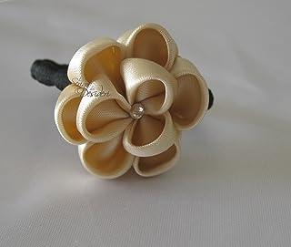 Elastico con decoro floreale Kanzashi beige