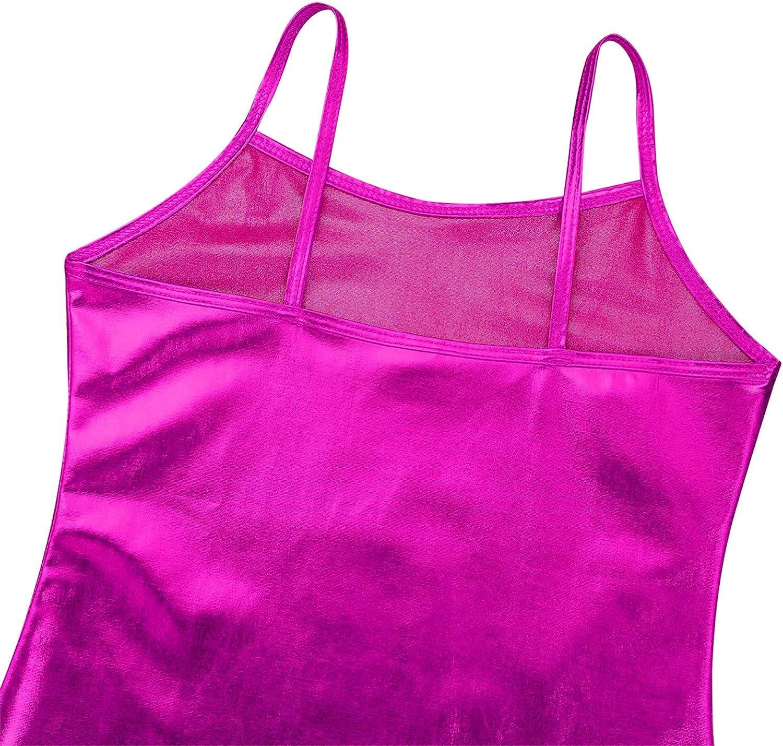 Agoky Kids Girls Cami Metallic Dance Camisole Tank Top Stage Performance Dancewear Costume Racerback Casual Top