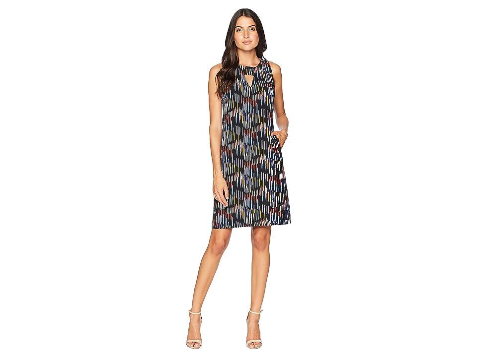 Nine West Shift Dress w/ Side Panels Front Pockets (Cool Blue/Terracotta) Women
