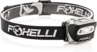 Foxelli Headlamp Flashlight - 165 Lumen, 3 x AAA Batteries Operated, Bright White Cree Led & Red Light, Perfect for Runners, Lightweight, Waterproof, Adjustable Headband, 3 AAA Batteries Included