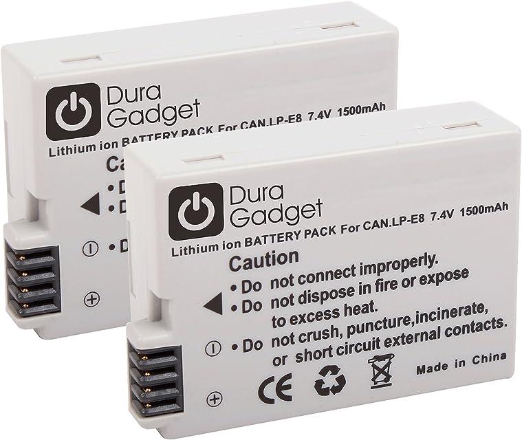 DURAGADGET Kit Doble 2 x Batería LP-E8 7.4 V 1500 mAh de reemplazo para cámaras Canon EOS 550D / 600D / 650D / 700D / Canon Digital Rebel T2i / T3i / T4i / T5i EOS Kiss X4 / X5