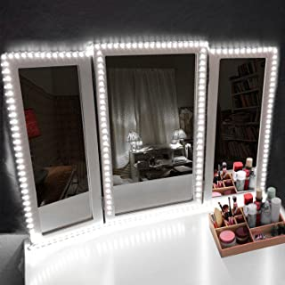LED Vanity Mirror Lights Kit Make-up Mirror Light Strip for Vanity Dressing Table, Dimmer, UL Certified Power Supply, Daylight, DIY Hollywood Style Mirror Light 13foot/4Meter Daylight White 6000K