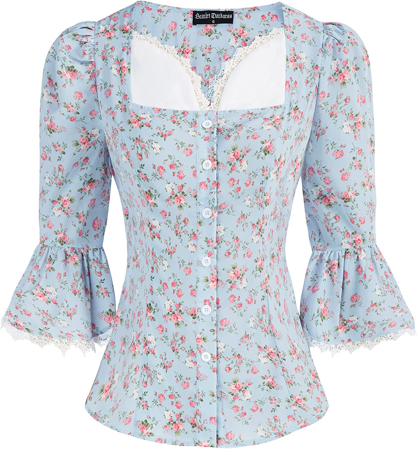 Scarlet Darkness Women Victorian Shirt Flare Ruffle Sleeve Button Down Floral Top
