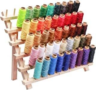 Jupean 46 Colors Leather Waxed Thread with Thread Holder,Thread for Leather Sewing Waxed Cord Thread and 60 Wooden Thread Rack Leather Sewing Waxed Thread Cord for Leather Craft DIY,Each of 55 Yards