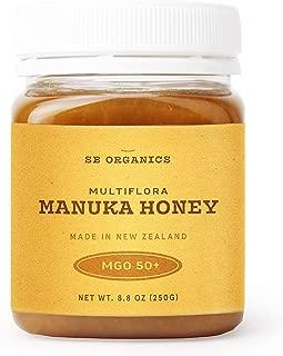 SB Organics Multiflora Manuka Honey MGO 50+ - Authentic Premium Certified New Zealand Honey – Non-GMO, Halal, Additive-Free, Quality Honey - 8.8 oz.