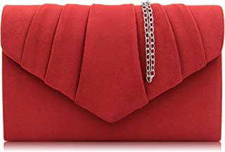 Milisente Women Evening Bag Velvet Pleated Clutch Purse Envelope Clutches