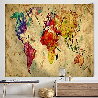 POTENCO World Map Tapestry Wall Hanging, World Map Wall Tapestry,Antique Map Tapestry Wall Hanging Home Decorations for Living Room Bedroom Dorm Decor