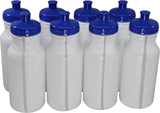 Sports Squeeze Plastic Water Bottles Push/Pull Cap 20 Ounce Bpa-Free Set 8